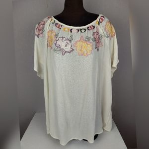 Torrid Floral Embroidered Gauze Blouse Size 3